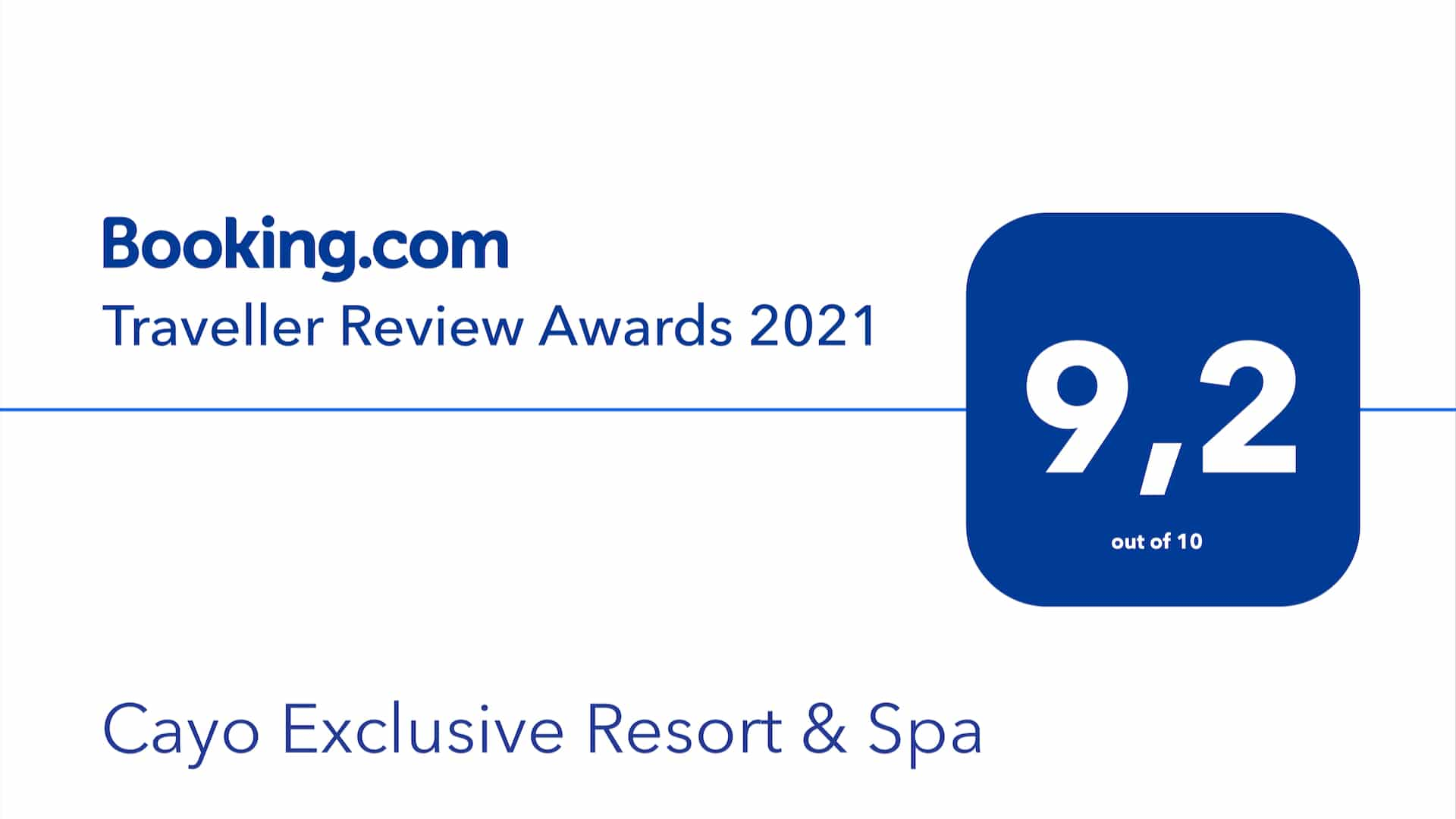 Cayo receives the Traveler Review Award 2021 from Booking.com