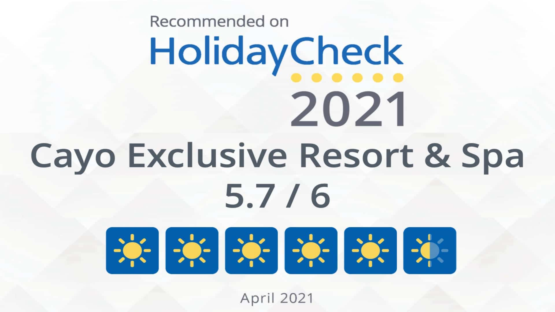 Recommended on HolidayCheck 2021